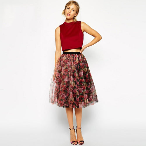 #SKH17417 Embroidered tulle skirt