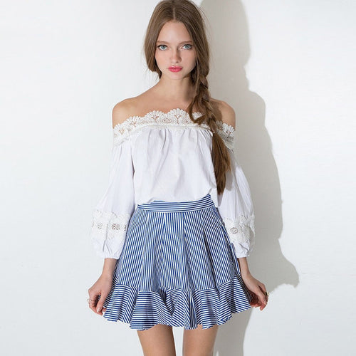 #SKH17420 Flounced wrap skirt