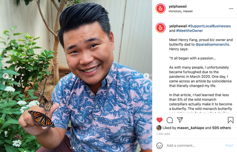 Paradise Monarchs owner, Henry Fang featured on Yelp Hawaii Instagram page.