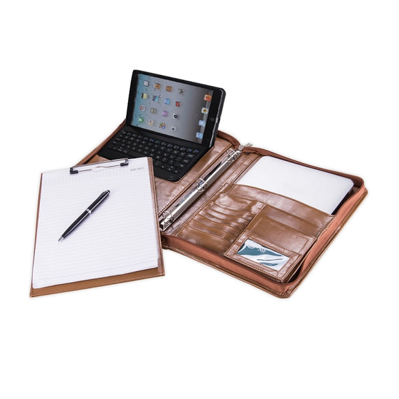 Deluxe Leather Organizer 3-Ring Binder Padfolio with Bluetooth Keyboard for iPad Mini