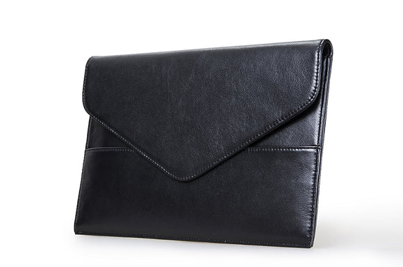 Professional Leather Envelope-Flap Clutch Case for MacBook and a Tablet Device