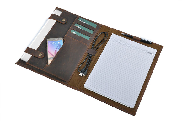 Space for a letter-size (8.5 x 11 inch) / A4-size notebook or notepad (not included)
