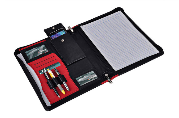 Product Dimensions: 13 x 10.2 x 1.2 inches (33 x 26 x 3 cm),Fits a letter-size (8.5 x 11 inch) / A4-size notebook or notepad (not included),with Pen loops, cellphone pocket (fits up to iPhone 6 Plus), and business card slots,Fits a letter-size (8.5 x 11 inch) / A4-size notebook or notepad (not included),with Pen loops, cellphone pocket (fits up to iPhone 6 Plus), and business card slots