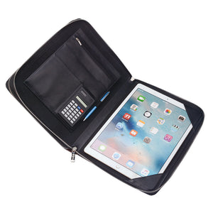 Pen loops, business card slots, cellphone pocket and accessory pockets
