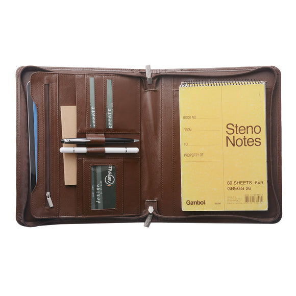 Fits a junior legal / A5-size (6- by 9-inch) notepad (not included)