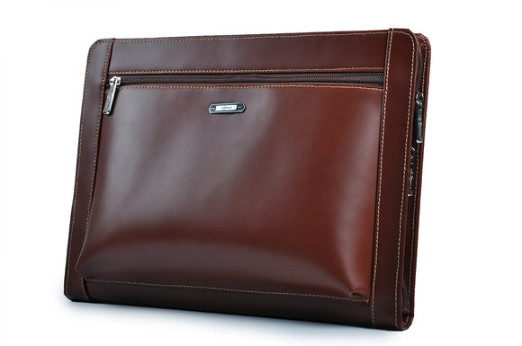 Zippered iPad Leather Portfolio With Letter-Size Notepad and Pockets