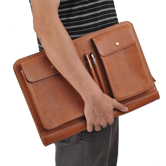 Zip-Close Leather Clutch-Style Portfolio Case for MacBook and iPad
