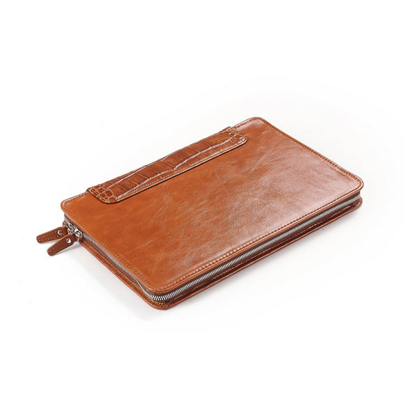 Brown Leather Portfolio-Style MacBook Sleeve With Crocodile-Pattern Trim