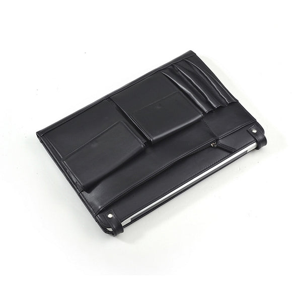 Black Leather Apple MacBook Clutch Carrying Case With iPad and iPhone Pockets