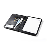 Smooth Black Leather Folio With Croc-Pattern Trim and iPad Mini Pocket