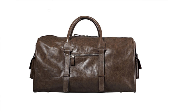 Soft Brown Leather Travel Carry-On Duffel Bag, 19.5-inch