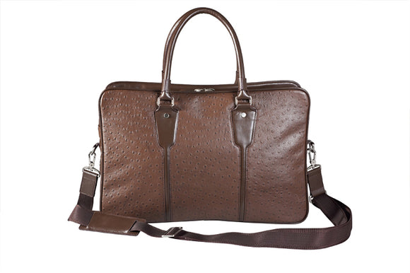 Brown Ostrich-Patterned Leather Traveling Briefcase Bag With Strap