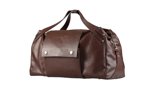 Modern Brown Leather Traveling Duffel Bag, Large