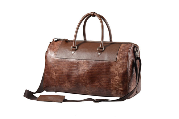 Brown Crocodile-Pattern Leather Traveling Duffel Bag With Strap