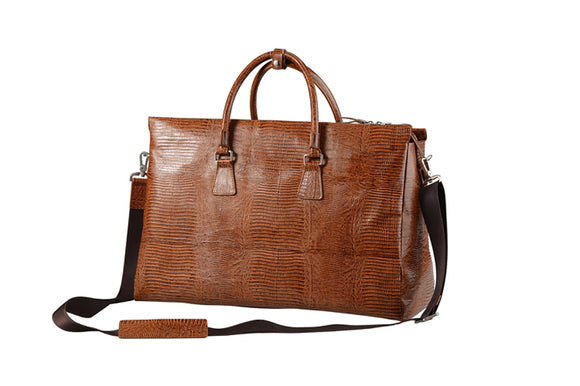 Crocodile-Patterned Brown Leather Satchel Briefcase, Tote Bag