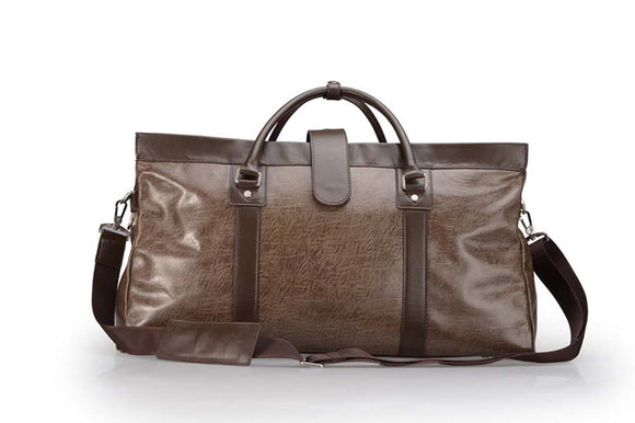 Brown Leather Traveling Duffel Bag With Strap and Contrast Trim, 22-inch