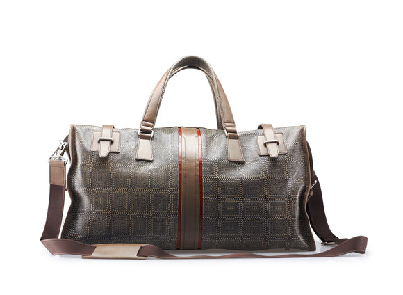 Weekend Retreat Patterned Leather Duffel Bag With Contrasting Trim and Shoulder Strap