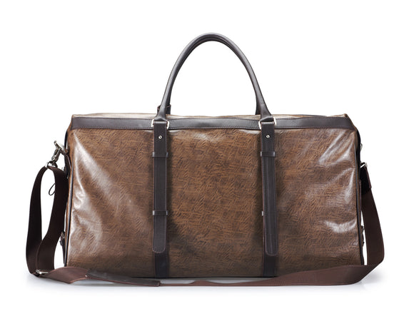 Antiqued-Pattern Brown Leather Duffel Bag With Chocolate-Brown Trim and Shoulder Strap