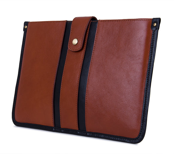 Executive Leather Racer Striped Sleeve, Fits 11-inch MacBook Air, Brown and Black