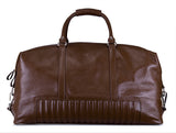 Executive Textured Leather Ridged Duffel Tote Bag with Shoulder Strap, Large, Brown