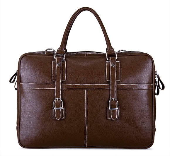 Executive Leather Attache Case, Soft-Sided Briefcase with Shoulder Strap, Large, Brown