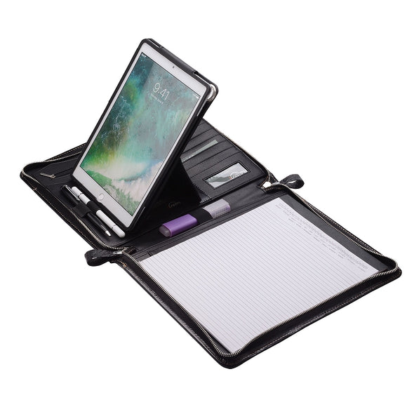 leather portfolio with ipad holder