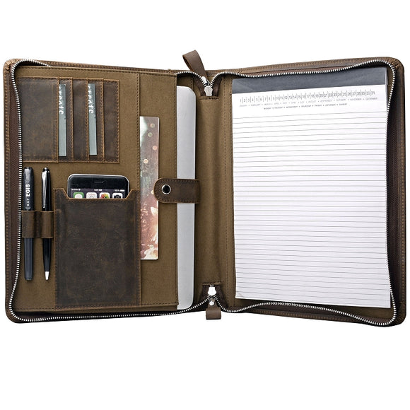 leather portfolio with notepad holder
