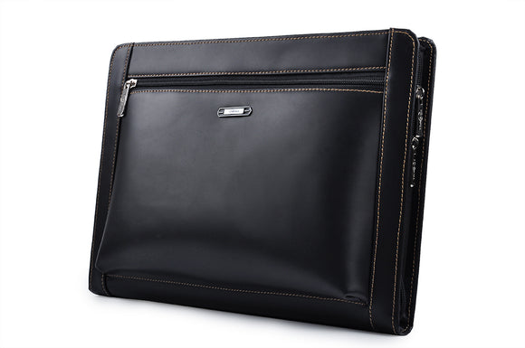 Leather Portfolio With Notepad Space for iPad 9.7, ipad pro 10.5/11/12.9, Black
