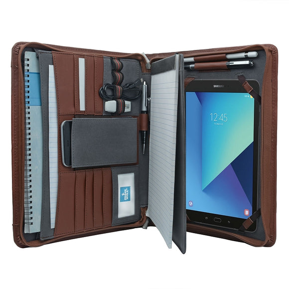 Tablet Portfolio Case with Notepad Holder, Zippered Leather Portfolio Folder Case for Galaxy Tab S3 /Galaxy Tab S4/Galaxy Tab S5e