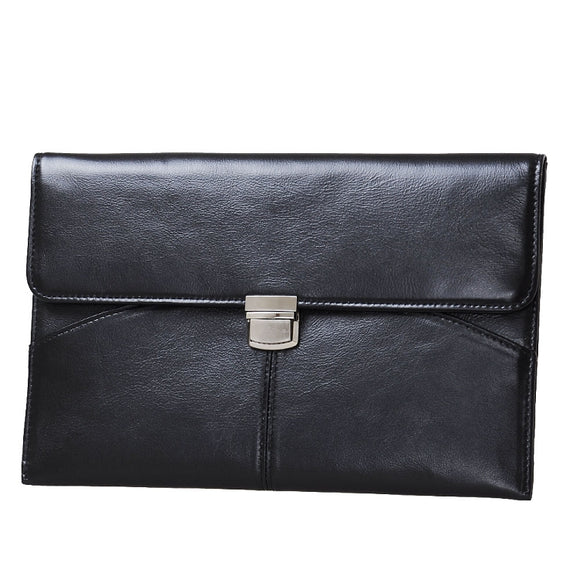 Leather Double Pocket Envelope Pouch Case with Clasp, for MacBook