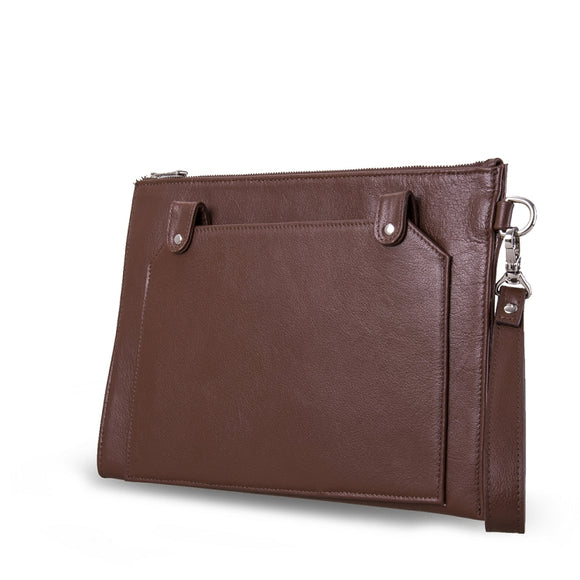 Leather Clutch Case with Wrist Strap and Outer Pocket, for MacBook