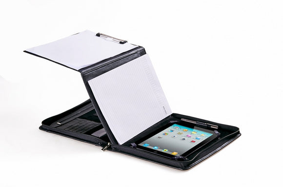 Executive Leather Padfolio with Folding Center Panel, for iPad / iPad Air, 11-inch Laptop
