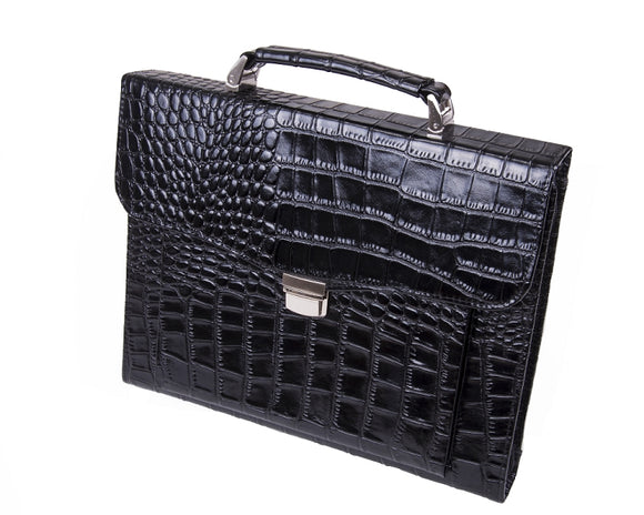 Executive Crocodile-Patterned Leather Attache Portfolio with Handle, for Letter / A4 Paper, Black