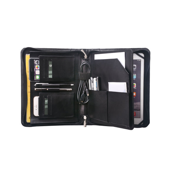with pen loops, business card slots, cellphone pocket and accessory pockets