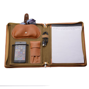 Zippered Leather Portfolio Folder with Notepad Holder, Writing Pad Portfolio with Pen Case and Glasses Pocket