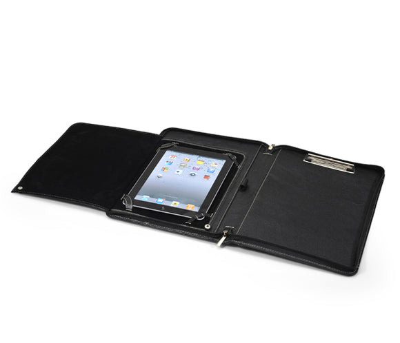 Classic iPad Zip-Close Leather Portfolio With Pockets