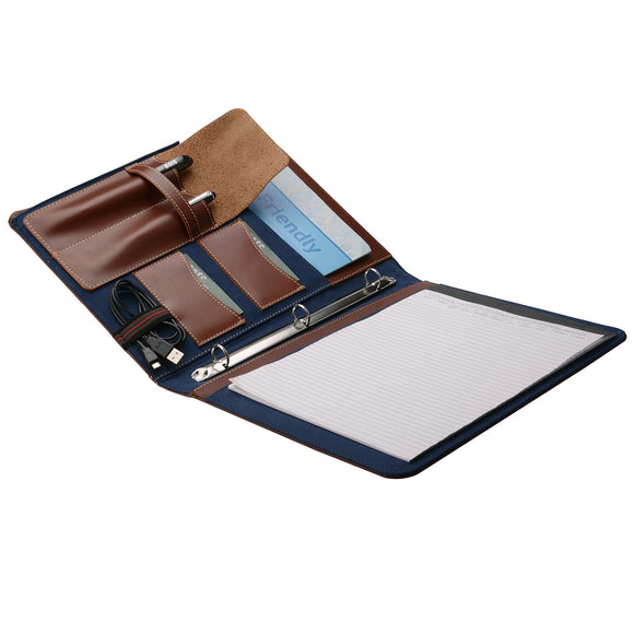 3 Ring Binder Portfolio Organizer, Leather Padfolio with 3 Ring Binder and A4 Notepad Notebook Holder