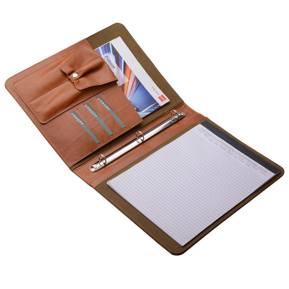 Leather Padfolio with 3 Ring Binder, Organizer Binder Folder Portfolio for A4 Notepad Notebook Documents