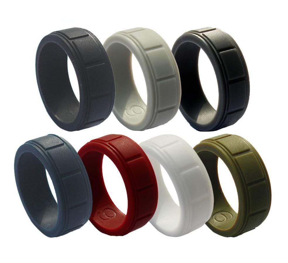 7 PCS Mens Silicone Ring Set Bulk