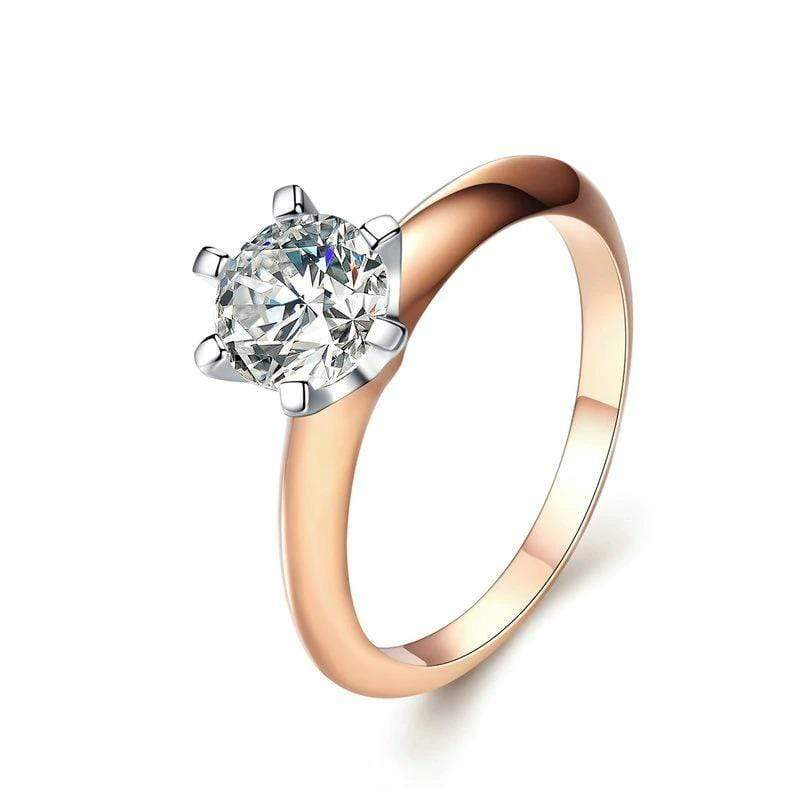 Silver Rose Gold CZ Engagement Ring