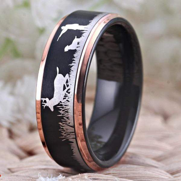 Tungsten Rose Gold Deer Hunting Ring