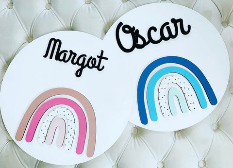 SCANDI RAINBOW NAME PLAQUE