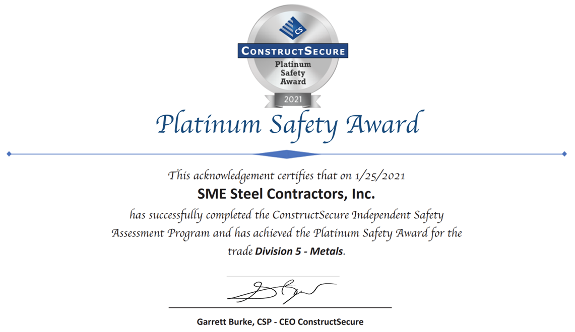 SME Steel Contractors, Inc. Earns ConstructSecure Platinum Safety Award for 2021