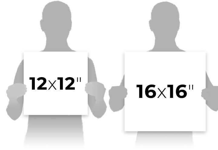 Reference image visually comparing each print size