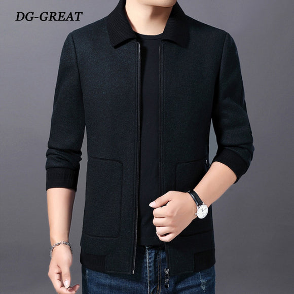 The New Fall Winter Jacket 2019 Trend Middle-aged Men's Woolen Jackets Detachable Lapel Wool Jacket Casual Men's Wear Men's Coat