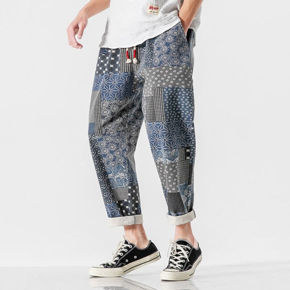 2020 Brand Mens Cotton Pants Linen Harem Pants Male Harajuku Streetwear Trouser Hip Hop Jogger Pants Men