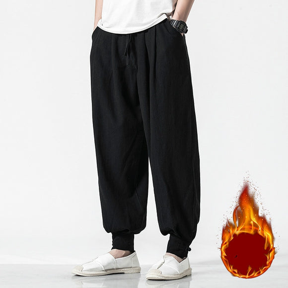 2020 Men Linen Harem Pants Mens Casual Elastic Waist Black Fleece Pants Male Hip Hop Joggers Trousers 5XL