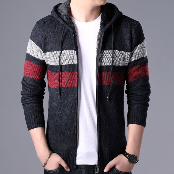 Winter Fleece Cardigan Mens Sweater Men Fashioutn Hooded Striped Knit Owear Coat Sweater Man Hooded Warm Sweatercoat Men 3XL