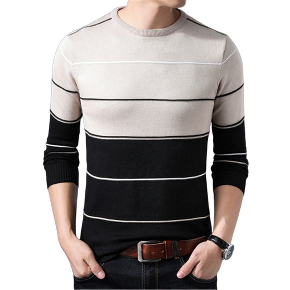 2020 New Sweaters Men Pullover Autumn Mens Striped Sweaters Man Slim Knittwear Pullover Casual Rainbow Sweater Plus Size O-Neck
