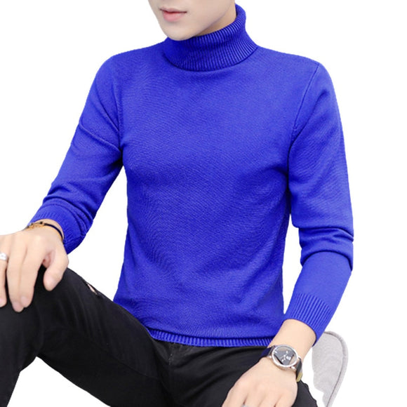 Men Turtleneck Sweaters Fashion Slim Fit Pullovers Mens Solid Knitted Turtleneck Sweaters Casual Warm Pullover Sweater Men